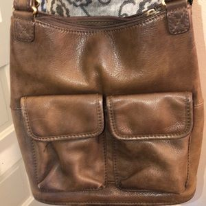 Fossil Distressed Brown Leather Shoulder Bag GC